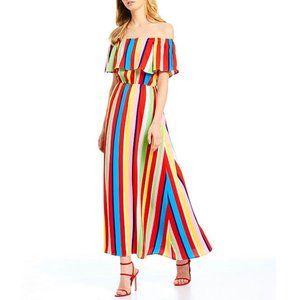 SugarLips Off Shoulder Striped Ruffle Maxi Dress L